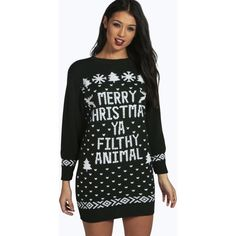 Boohoo Mia Merry Christmas Ya Filthy Animal Jumper Dress ($30) ❤ liked on Polyvore featuring tops, sweaters, bottle, knit sweater, turtle neck sweater, christmas sweater, turtleneck sweater and animal sweater