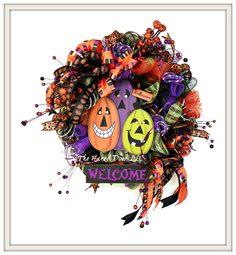 Halloween Wreath, Halloween Pumpkin Wreath, Halloween Pumpkin, Halloween Welcomel Wreath, Halloween Decor, Front Door Wreath, Pumpkin Wreath by TheNakedDoorLLC on Etsy