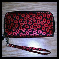 Cute for Valentine's outfit **Wristlet Wallet** Black with red lips, double wallet, only used once. In great condition. Bags Wallets