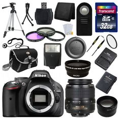 Nikon D5200 Digital SLR DSLR Camera + 3 Lens 18-55mm + 32GB KIT & More Brand New #Nikon
