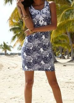 Lilly Pulitzer Foster Knit Shift Dress in Bright Navy Oh Cabana Boy