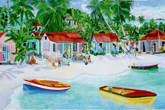 """Little typical wooden Caribbean Houses. It was commissioned oil 36"""" x 54"""". The limited edition print is available on my site. """"Cool Bananas Bay"""" http://eileenseitz.com/index.php/shop-page/?cat_id=6026&art_id=94&pd_id=548"""