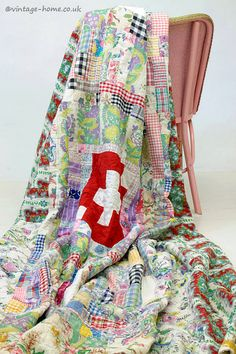 Vintage Home - 1950s Colourful Patchwork Quilt.