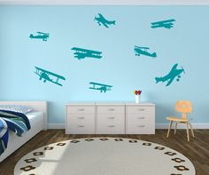 Airplane Decals Airplane Wall Decals  Childrens by NewYorkVinyl