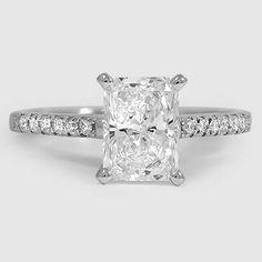 Platinum Sonora Diamond Ring // Set with a 1.26 Carat, Radiant, Ideal Cut, E Color, IF Clarity Diamond #BrilliantEarth