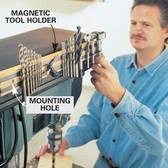 Mount a magnetic tool holder for bits  did this last night! perfect for next to or on the wall next to drill press.thanks!