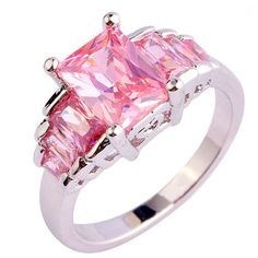 Passione Rosa - Romantic Love Emerald Cut Pink Topaz Silver Cocktail Ring