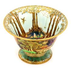 Fairyland Lustre pedestal bowl by Daisy Makeig-Jones for Wedgewood, 1920s, not quite antique but very rare. Woodland bridge pattern with whimsical characters inspired by illustrators like Arthur Rackham.