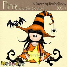 Witch star spider bat Nina dolls 0080 clip art set por Withart
