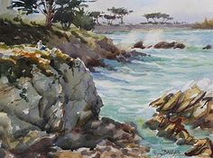 Lovers Point Painter by Poppy Balser, Plein Air Watercolor ~ 10 x 14  $550  I painted this on location in Pacific Grove, California.