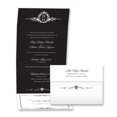 Stately Crest - Black - Seal and Send Invitation | Invitations By David's Bridal