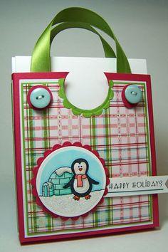 "card purse: 5.75x11"" pc, score@10.5, 6, 5.25+.75"", turn lengthwise score@5"", cut slits at flap corners, decorate, glue add ribbon handles w/brads"