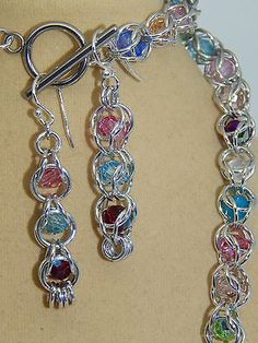 Hand-Made Aluminium Chain Maille with Floating Genuine Swarovski Crystals set