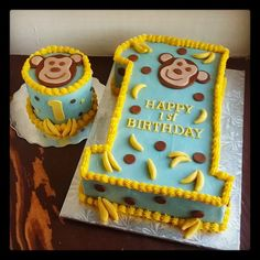 Second Generation Cake Design: Monkey 1st Birthday Cake & Smash Cake