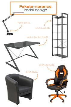 Ha igazán modern, pasis irodát, vagy dolgozószobát szeretnél kialakítani. Akkor ezt az összeállítást szeretni fogod! Elegáns, modern és nagyon férfias iroda.l.#office#officedesign#ideas#officefurniture#chair#fotel##forgószék#íróasztal#desk#polc#shelf#iroda#irodadesign#irodabútor#íróasztalilámpa#black#orange#fekete#narancssárga#ideas Ravenna, Office Desk, Modern, Design, Home Decor, Desk Office, Trendy Tree, Decoration Home, Desk