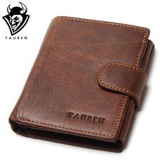 Tauren hombres 100% marca diseñador vintage cuero genuino de cera de petróleo piel de vaca titular de la tarjeta monedero bifold wallet con bolsillo para monedas