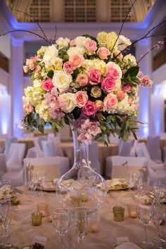 Pink & White Centerpiece  Photography: Mandy Paige Photography Read More: http://www.insideweddings.com/weddings/vintage-inspired-wedding-shoot-with-blush-gold-color-palette/703/