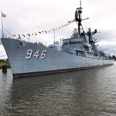 The USS Edson Museum Ship is on the Saginaw River in Bay City, Michigan and ready to receive visitors.