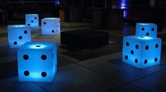 """HIGH-ROLLER"", Lighted Seating Cubes with Phone Chargers,by 24 Seven Productions,pinned by Ton van der Veer"