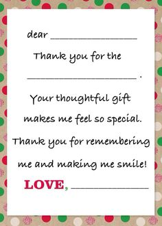Thank You Note Template For Kids Free Printables