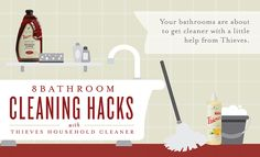 Check out our bathroom cleaning tips using Young Living's Thieves Household Cleaner. Thieves Essential Oil is a key ingredient in our cleaner, which assists with cleaning any surface for your home. Thieves Household Cleaner, Thieves Cleaner, Bathroom Cleaning Hacks, Toilet Cleaning, Grout Cleaning, Cleaning Diy, Cleaning Supplies, Young Living Oils, Young Living Essential Oils