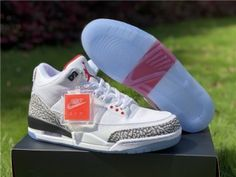 664724c2351 Mens Air Jordan 3 Basketball Shoes White fire red cement grey 923096-101