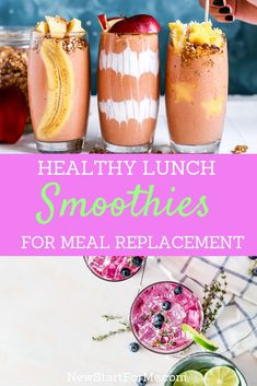 Use healthy lunch smoothies for meal replacement instead of skipping meals altogether in order to lose weight in a healthy way. Use healthy lunch smoothies for meal replacement instead of skipping meals altogether in order to lose weight in a healthy way. Healthy Lunch Smoothie, Healthy Juices, Fruit Smoothies, Healthy Drinks, Healthy Nutrition, Breakfast Smoothies, Healthy Dishes, Recipes For Healthy Smoothies, Smoothies For Lunch