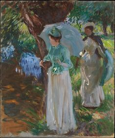 "John Singer Sargent (American, Florence 1856–1925 London). Two Girls with Parasols, 1888. The Metropolitan Museum of Art, New York. Gift of Mrs. Francis Ormond, 1950(50.130.13) | This work is exhibited in the ""Unfinished: Thoughts Left Invisible"" exhibition, on view through September 4th, 2016. #MetBreuer"