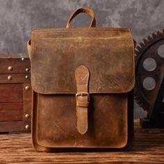 Handmade Leather Backpack Messenger Shoulder Bag Crossbody Bag Handbag for Men in Vintage Brown 6963
