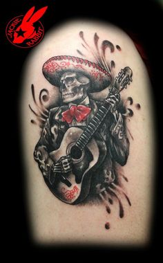 Musical day of the dead tattoo
