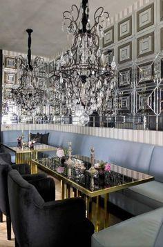 #mirroredwalls #chandelier this is mirrored glam at its finest. via decorista website