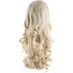 Eva Long Loose Curls Half-Head Wig In #614H21 Light Blonde ($38) ❤ liked on Polyvore featuring beauty products, haircare and hair styling tools