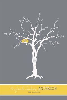 Thumbprint Tree Guest Book Custom Love Birdies by InvitingMoments