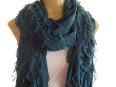 Dark Teal ruffle scarf  Sparkling  teal -Sequined extra long scarf - Tube scarf  -Super long Flamenco Superstar-Last One