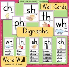 Digraphs Wall Cards & Word Wall- Ready to Print & Post, HWT style font Letter Recognition Kindergarten, Ch Words, Word Wall Headers, Handwriting Without Tears, Teaching Phonics, Student Teaching, English Phonics, Kindergarten Lessons, Classroom Language