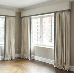 Samuel and Sons Passementerie Home Curtains, Custom Curtains, Ikea Curtains, Curtains With Blinds, Pelmet Designs, Cornice Design, Curtain Designs, Curtain Box, Curtain Pelmet