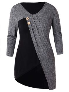 Two Tone Plus Size Button Embellished T-shirt