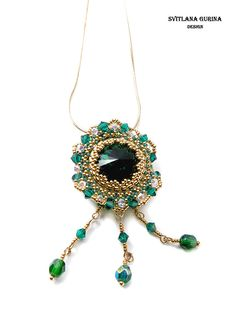 Brooch, pendant with Swarovski emerald - colour crystal, gold seed beeds. stylish jewelry.Beadwork Green and gold jewelry - pinned by pin4etsy.com