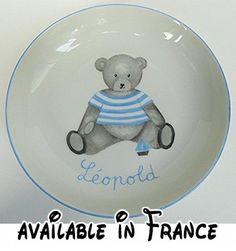 Assiette creuse de bébé Ourson Bleu personnalisée.  #Guild Product #GUILD_BABY
