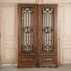 Pair Antique French Doors With Wrought Iron - Inessa Stewart's Antiques