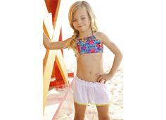 57f60dab434e2 Tamarin bikini in Coral Reef with white beach shorts little peixoto 2016  Kids Swimwear