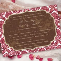 coral damask invitation magenta and chocolate by CeceliaJane, $20.00