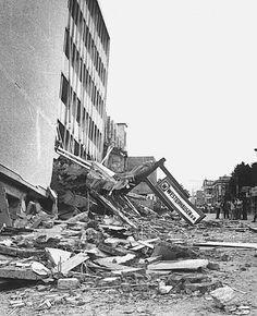 Collapsed Gran Hotel building in the San Salvador metropolis, after the shallow 1986 San Salvador earthquake during mid civil war El Salvador.