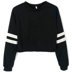 Joeoy Women's Casual Striped Long Sleeve Crop Top Sweatshirt Black-S. Asian Asian Asian Material: Crop top featuring contrast stripes on sleeves. Striped Long Sleeve Shirt, Long Sleeve Crop Top, Long Sleeve Shirts, White Hooded Sweatshirt, Hooded Sweatshirts, Cropped Hoodie, White Hoodie, Fleece Hoodie, Cute Crop Tops