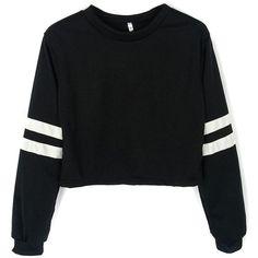 Joeoy Women's Casual Striped Long Sleeve Crop Top Sweatshirt ($16) ❤ liked on Polyvore featuring tops, hoodies, sweatshirts, t o p s, sweaters, shirts, crop shirts, stripe crop top, striped shirt and stripe top