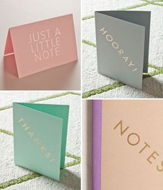 Fun Stationery | Pink, Mint, Gray, and Coral Note Cards