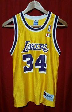 4cabdfccebfdc Vintage Los Angeles Lakers Shaq Jersey Champion Kids 10-12 Gold O Neal EUC   Champion  LosAngelesLakers