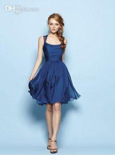 Sexy Blue Lace Chiffon Bridesmaid Dress U Neck Custom Sade Empire 2014 New Spring Short Mini Party Gown Beach Formal Dresses Cheap Best Sale, $65.03 | DHgate.com