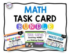 Multi-Step Word Problems, Place Value and Counting Money to $5 and Making Change Word Problems are all included in this download.  A total of 204 task cards!Mutli-step word problems to challenge students to critically think about which operation to use.