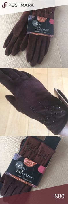 NWT Beaded Espresso Suede Dress Driving Gloves7 OS LUXURY COLLECTION, LUXE MICRO SUEDE BEADED DRESS GLOVES! NWT Stunning gloves that are easy to wear. Microfiber resembles suede leather but stretches to fit like a driving glove! Rich Espresso, fully lined in black. GLOWING BRONZE BEADS sparkle to give it a touch of Glam but great for everyday! OS; One Size Fits All. I fit 6.5,7 & 7.5; these work well on me. I'd say xs, small & medium to be safe. 15% Spandex to stretch to fit.:) NEW WITH TAGS…